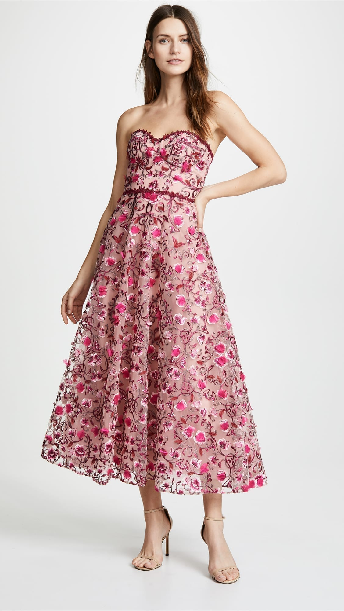 ed3247c8ff1f6 MARCHESA NOTTE Floral Embroidered Tea Length Floral Gown