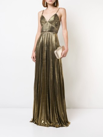 MARCHESA NOTTE Metallic Pleated Gold Gown