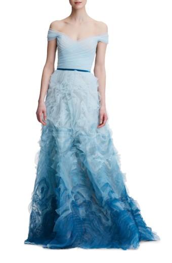 MARCHESA NOTTE Ombré Off The Shoulder Light Blue Gown