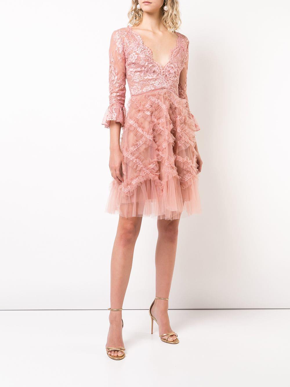 Marchesa Notte Tulle Embellished Pink Dress