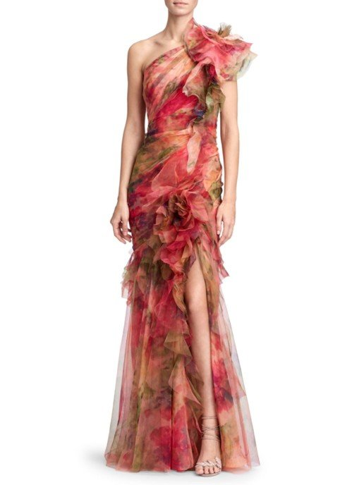 MARCHESA One-Shoulder Silk Organza Coral / Printed Gown
