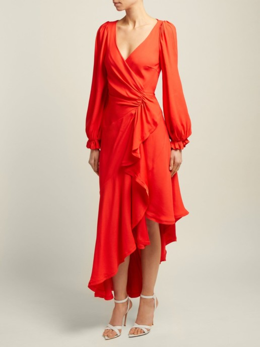 MARIA LUCIA HOHAN Eliana Asymmetric Crepe Wrap Red Dress