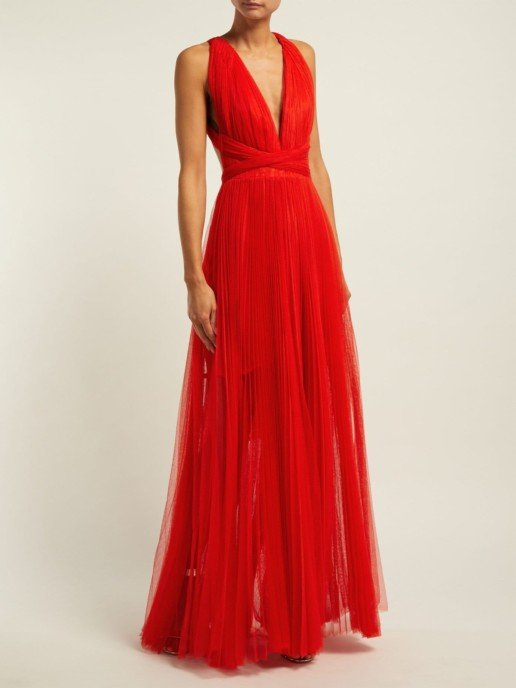 MARIA LUCIA HOHAN Margo Open Back Pleated Tulle Red Gown