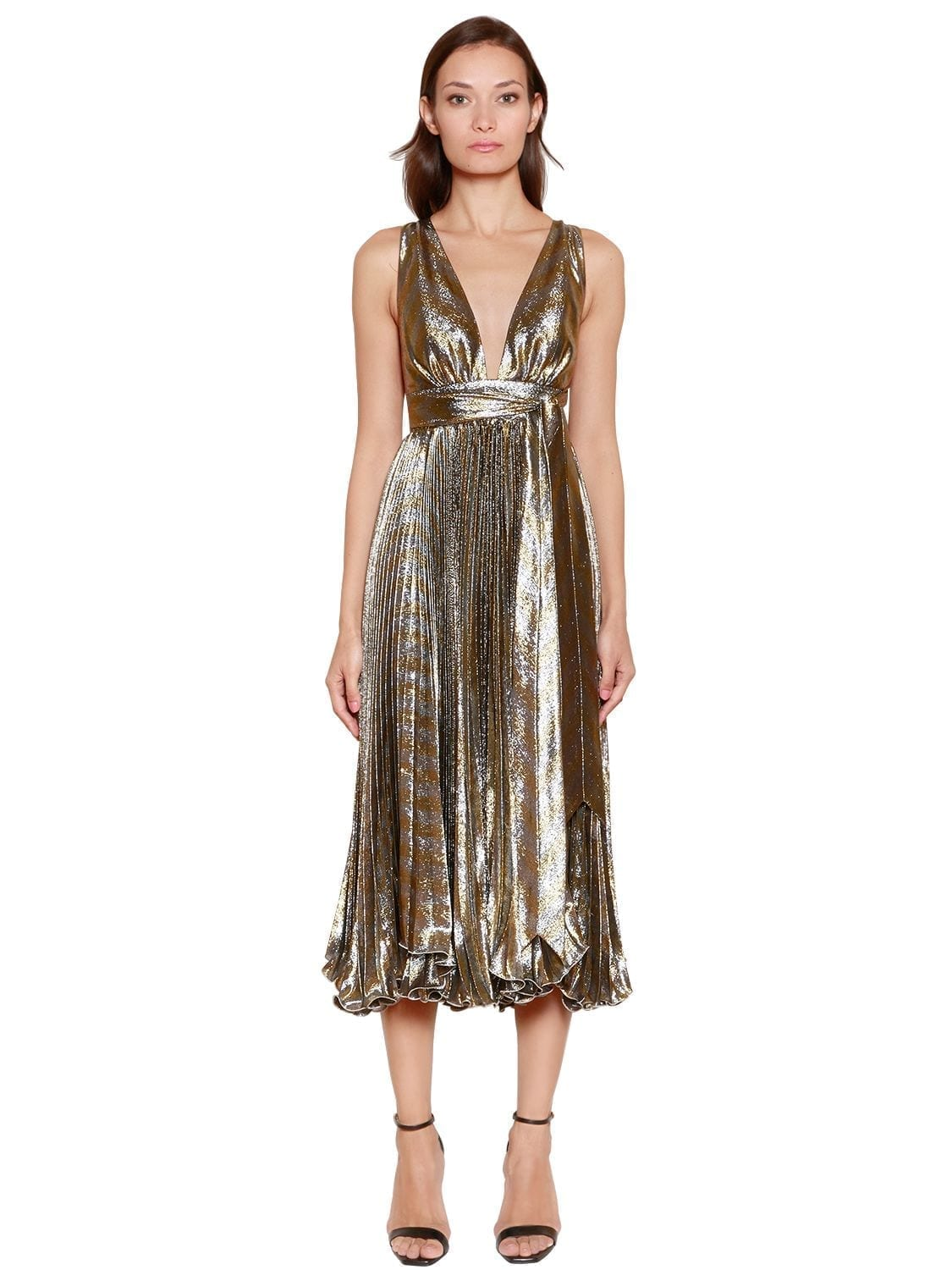 MARIA LUCIA HOHAN Metallic Silk Blend Plissé Midi Gold / Silver Dress