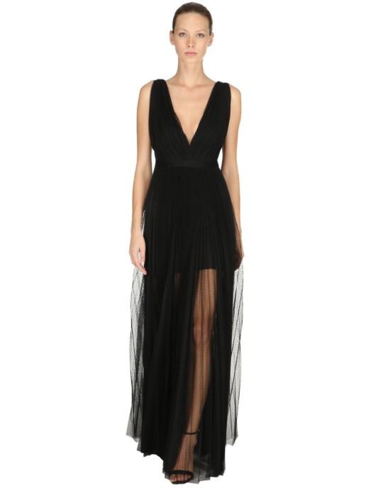 MARIA LUCIA HOHAN Polka Dots Pleated Long Black Dress