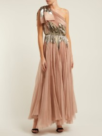 MARIA LUCIA HOHAN Rasha Pleated Silk Blend Rose Pink Gown
