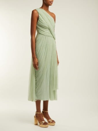 MARIA LUCIA HOHAN Willa One-Shoulder Pleated Tulle Olive Green Dress