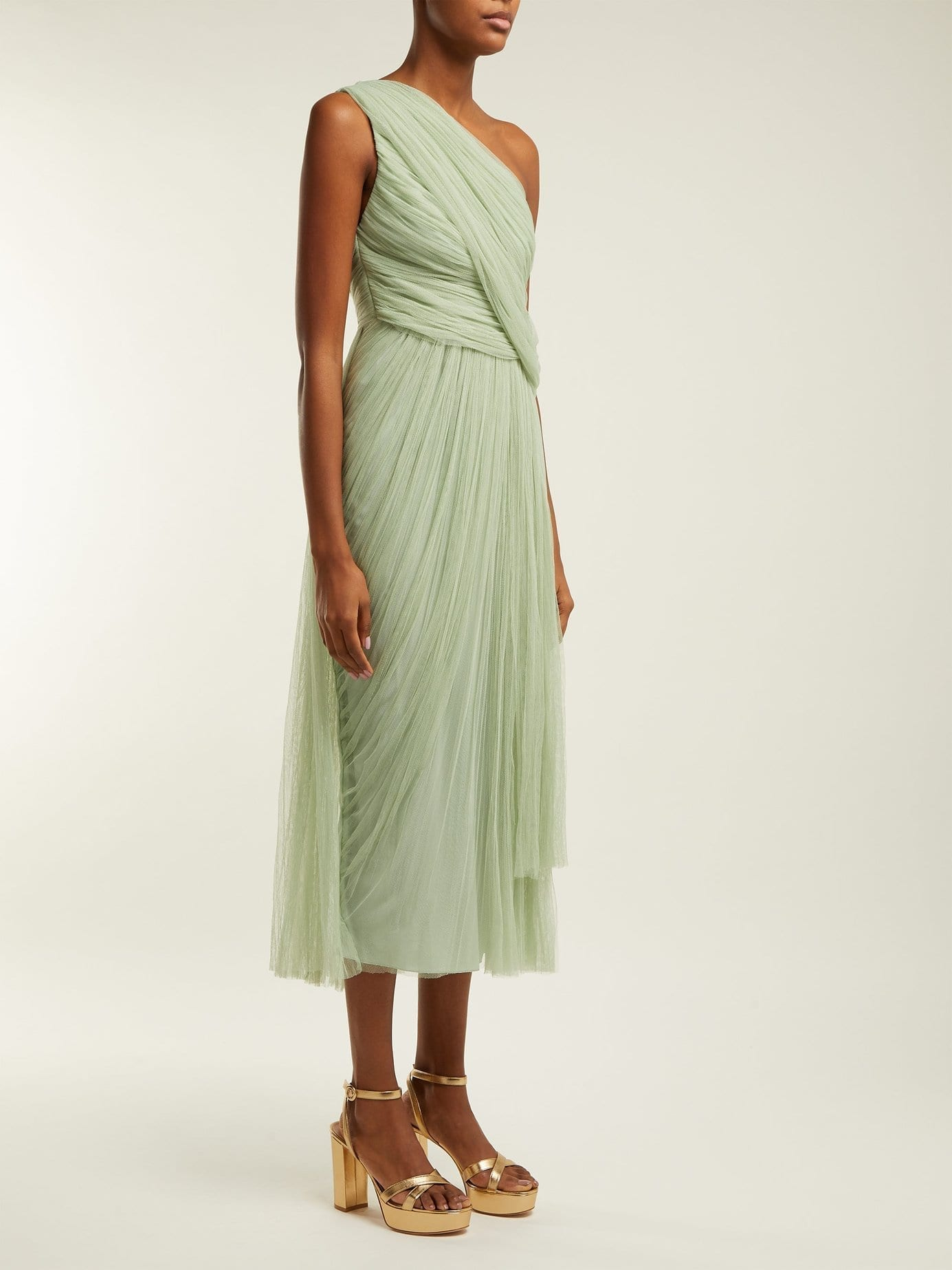 Maria Lucia Hohan Willa One Shoulder Pleated Tulle Olive Green Dress