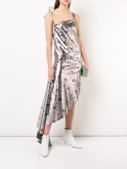 MARQUES'ALMEIDA Asymmetric Silver / Floral Printed Dress