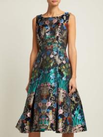 MARY KATRANTZOU Talon Floral-jacquard Midi Blue Dress 2
