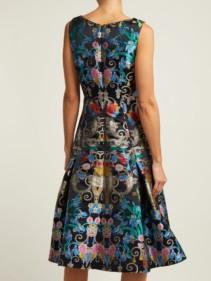 MARY KATRANTZOU Talon Floral-jacquard Midi Blue Dress 3