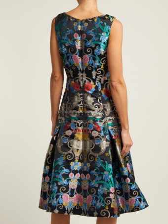 MARY KATRANTZOU Talon Floral-jacquard Midi Blue Dress 3