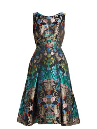 MARY KATRANTZOU Talon Floral-jacquard Midi Blue Dress 4
