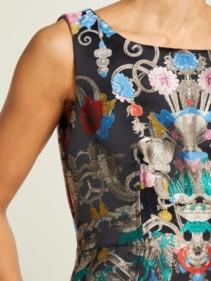 MARY KATRANTZOU Talon Floral-jacquard Midi Blue Dress 5