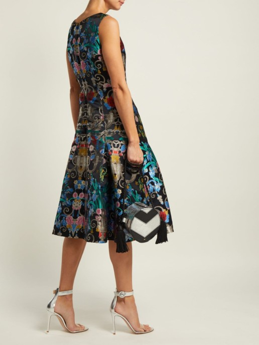 MARY KATRANTZOU Talon Floral-jacquard Midi Blue Dress