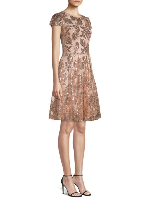 MILLY Sequin Embroidered Cocktail Rose Gold Dress