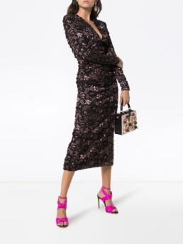 MIU MIU Floral Midi Black / Pink Dress