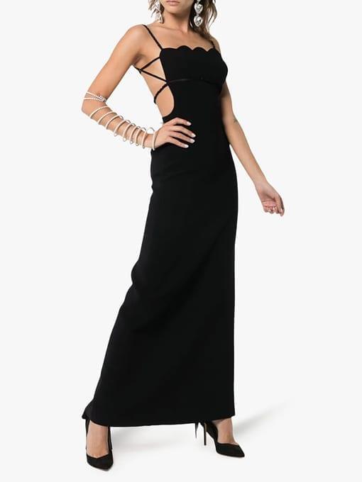 MIU-MIU-Scalloped-Edge-Ruched-Strap-Black-Gown