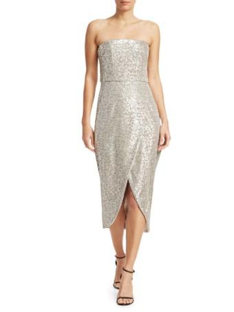 ML MONIQUE LHUILLIER Strapless Sequin Midi Silver Dress