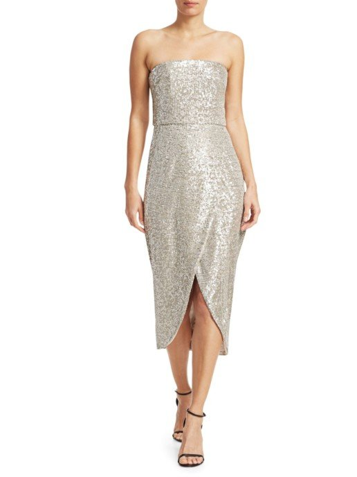 ML MONIQUE LHUILLIER Strapless Sequin Midi Silver Dress