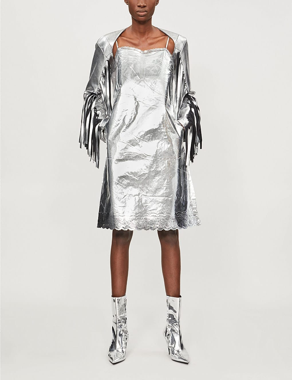 MM6 MAISON MARGIELA Lace-Trim Metallic Dress