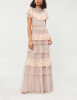 NEEDLE AND THREAD Cinderella Floral-Embroidered Tulle Rose Gown