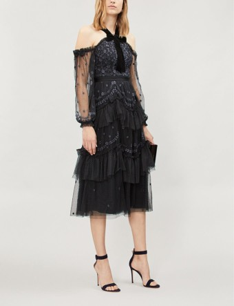 NEEDLE AND THREAD Day Dreamers Floral-Embroidered Tulle Black Dress