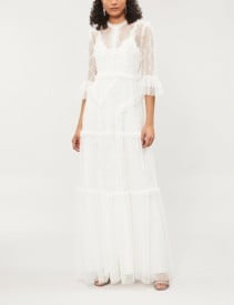 NEEDLE AND THREAD Decon Floral-Embroidered Tulle Pearl Gown
