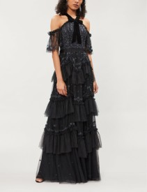 NEEDLE AND THREAD Dreamers Off-The-Shoulder Tulle Black Gown