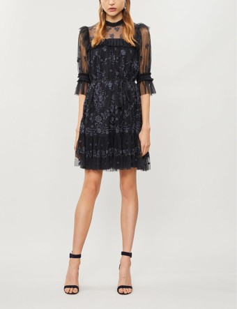 NEEDLE AND THREAD Lace Illusion Embroidered Tulle Mini Black Dress