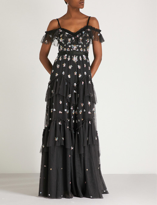 NEEDLE AND THREAD Lustre Cami Embroidered Chiffon Graphite Gown