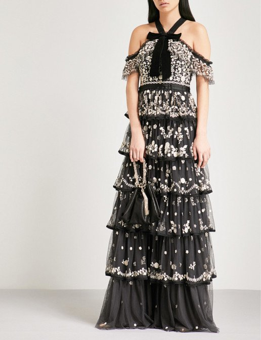 NEEDLE AND THREAD Zelda Embroidered Tulle Graphite Gown