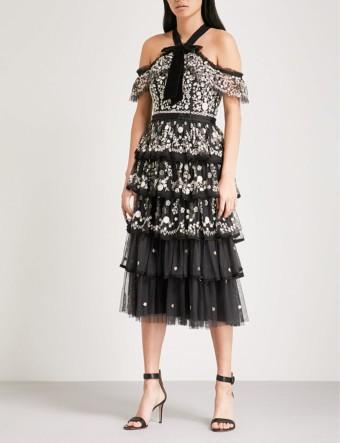 NEEDLE AND THREAD Zelda Embroidered Tulle Midi Graphite Dress