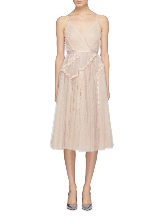 NEEDLE & THREAD 'ballet Couture' Ruffle Lace Trim Tulle Pink Dress