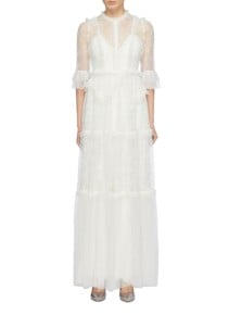 NEEDLE & THREAD 'deconstructed' Floral Embroidered Ruffle Tiered Tulle White Gown