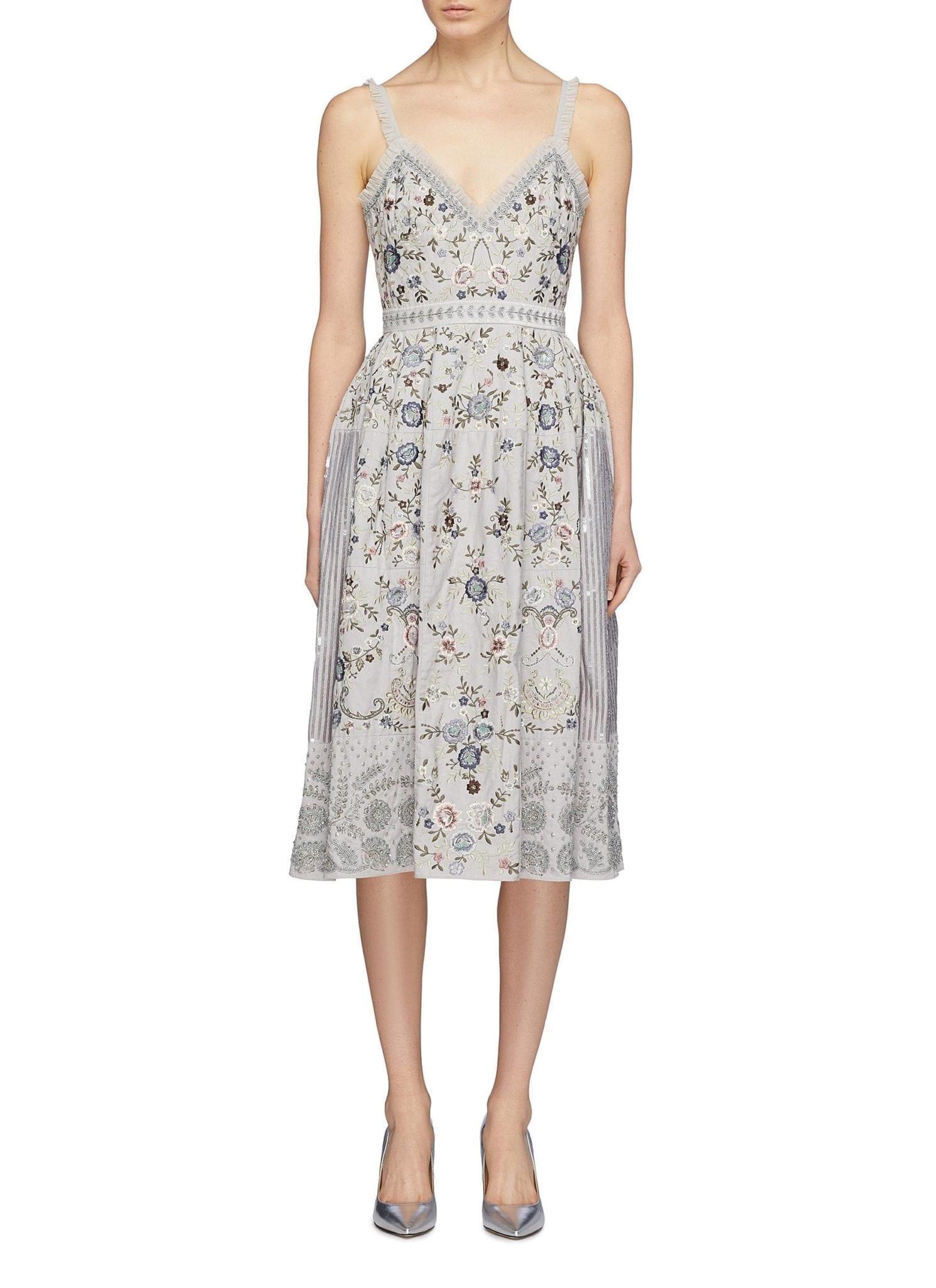 NEEDLE & THREAD 'ella' Floral Embellished Sequin Patchwork Blue Dress