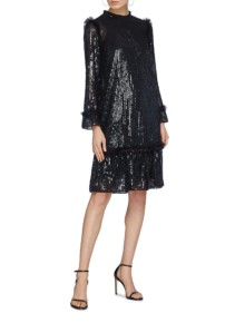 NEEDLE & THREAD 'gloss Sequin' Stripe Ruffle Trim Peplum Black Dress