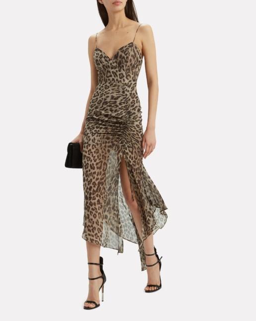 NICHOLAS Leopard Drawstring Beige Dress