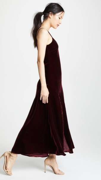 NICHOLAS Velvet Slip Burgundy Dress 3