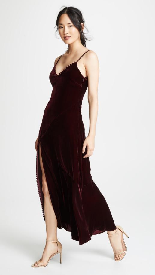 NICHOLAS Velvet Slip Burgundy Dress