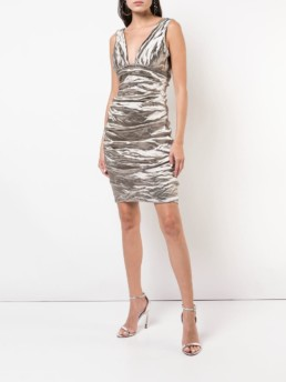 NICOLE MILLER Ruched Fitted Silver Dress