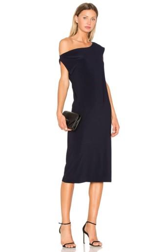 NORMA KAMALI Drop Shoulder Black Dress
