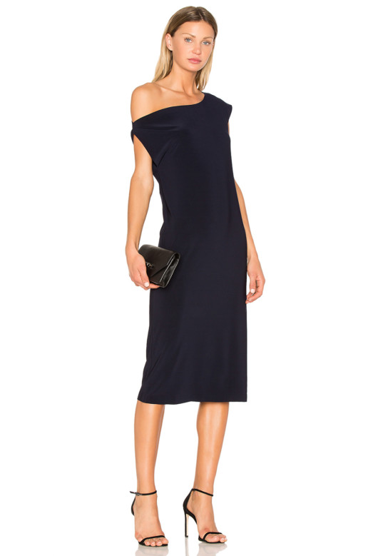 NORMA KAMALI Drop Shoulder Black Dress