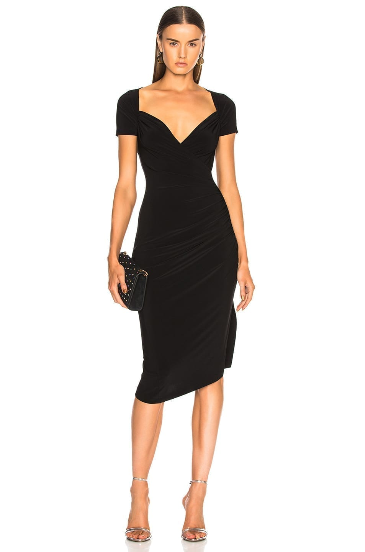 NORMA KAMALI Sweetheart Side Drape Black Dress