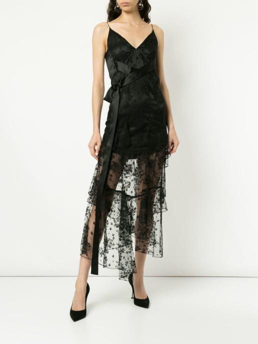 OLIVIER THEYSKENS Plunge Neck Lace Black Dress