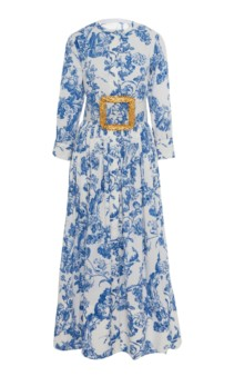 OSCAR DE LA RENTA Belted Floral-Print Stretch-Cotton Dress 2