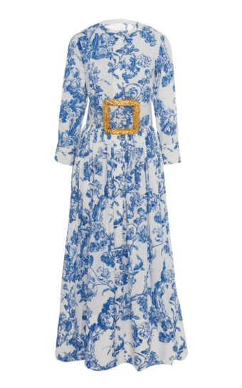 OSCAR DE LA RENTA Belted Floral-Print Stretch-Cotton Dress 2