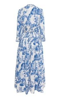 OSCAR DE LA RENTA Belted Floral-Print Stretch-Cotton Dress 3