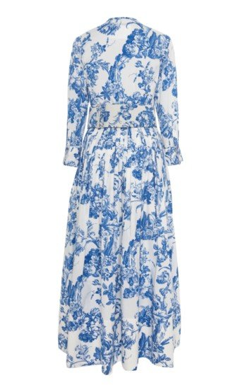 OSCAR DE LA RENTA Belted Floral-Print Stretch-Cotton Dress 3