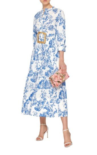 OSCAR DE LA RENTA Belted Floral-Print Stretch-Cotton Dress